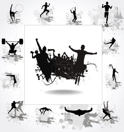 Illustration pour Silhouettes des athlètes et des affiches avec les acclamations des fans - image libre de droit