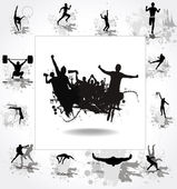 Silhouettes of athletes and posters with cheering fans