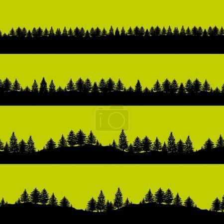 Illustration pour Conifères forêt arbres silhouettes arrière-plan vectoriel illustration. Bannières abstraites horizontales de collines couvertes de bois en noir sur vert . - image libre de droit