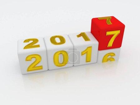 Photo pour Bonne année 2017. Illustration 3D - image libre de droit