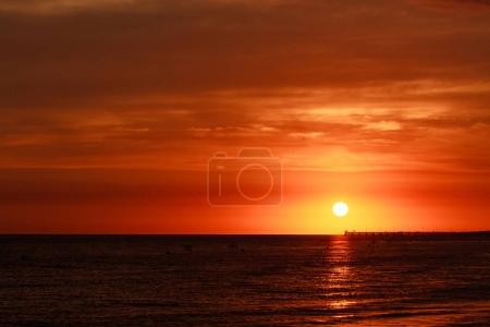 Photo for Beautiful sunset above the sea with beautiful color sky - Royalty Free Image