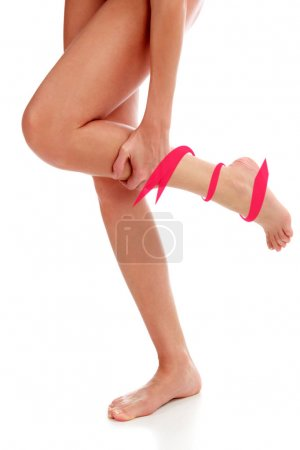Photo for Pain in leg. Isolated on white background - Royalty Free Image
