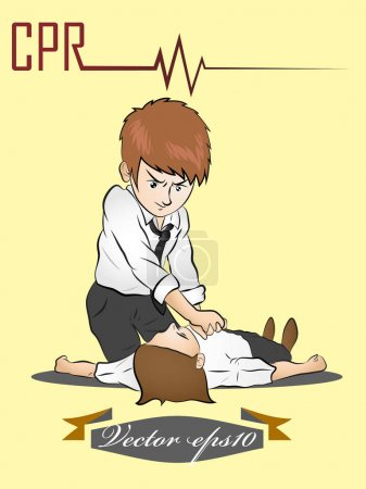 man perform CPR,illustration design vector of CPR