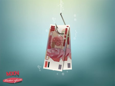 Money concept illustration, mexican pesos money paper on fish hook