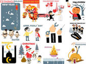 Beautiful graphic of 12 international holidays: new yearchinese new yearvalentine's dayhalloweeneasterapril fools' daylaborworld no tobaccoramadanchristmasbuddha daythanksgiving