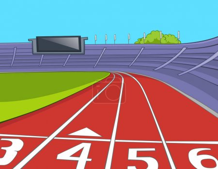 Photo for Hand drawn cartoon of of sport stadium. Colourful cartoon of sport stadium with running tracks. Cartoon of red athletics track lanes with the numbering at the stadium. Background of athletics stadium. - Royalty Free Image