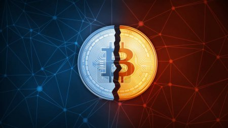 Photo for Golden bitcoin coin broken in half on the peer to peer network background. Bitcoin Gold cryptocurrency and segwit decentralized digital currency blockchain hard fork concept. - Royalty Free Image