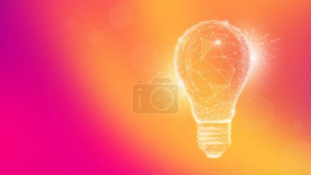 Photo for Polygon idea light bulb on blurred gradient multicolored background. Global cryptocurrency blockchain business banner concept. Lamp symbolize inspiration, innovation, invention, effective thinking. - Royalty Free Image