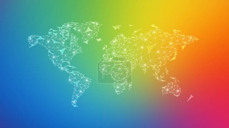 Polygon world map with blockchain peer to peer net...