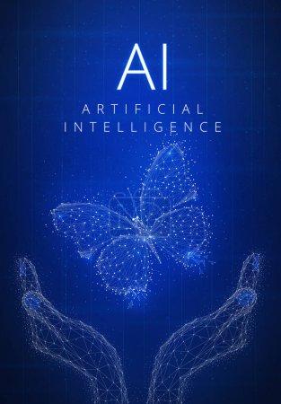 Photo pour Intelligence artificielle et cyberespace concept futuriste fond hud avec papillon lumineux dans les mains, blockchain pair à pair réseau et titre AI. Concept global de bannière d'affaires crypto-monnaie . - image libre de droit