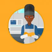 An african welder standing at factory workshop Industrial worker with arms crossed standing on the background of control panel Vector flat design illustration in the circle isolated on background