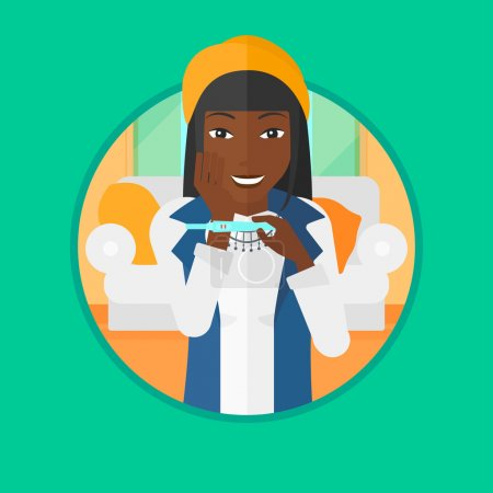 Illustration for African-american woman looking at positive pregnancy test. Woman checking pregnancy test. Surprised woman holding pregnancy test. Vector flat design illustration in the circle isolated on background. - Royalty Free Image