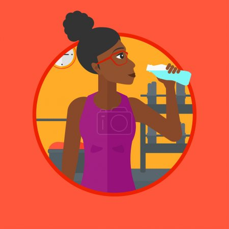 Sportive woman drinking water vector illustration.