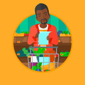 African-american thoughtful man standing at the supermarket with trolley full with products and holding a shopping list in hands Vector flat design illustration in the circle isolated on background
