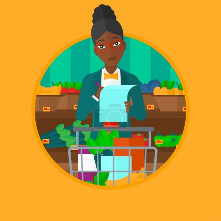 Woman with shopping list vector illustration.