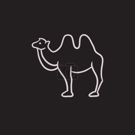 Illustration pour Icône de croquis vectoriel de chameau isolé en arrière-plan. Icône de chameau dessinée à la main. Icône de croquis de chameau pour infographie, site web ou application . - image libre de droit