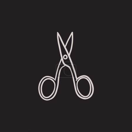 Nail scissors sketch icon.