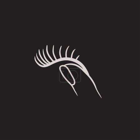 False eyelashes sketch icon.