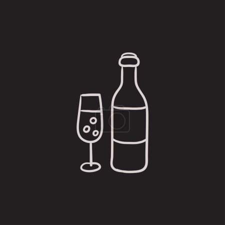 Bottle and glass of champagne sketch icon.
