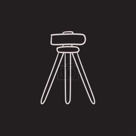 Theodolite on tripod sketch icon.
