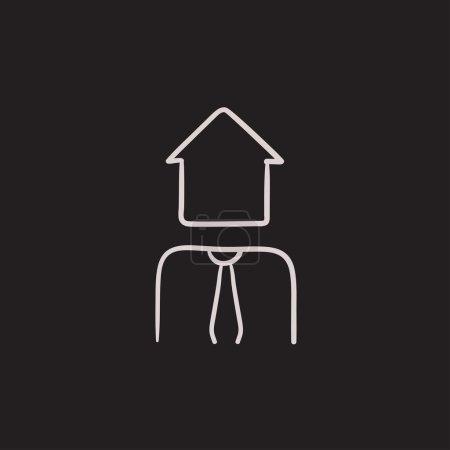 Real estate agent sketch icon.