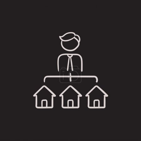 Real estate agent with three houses sketch icon.