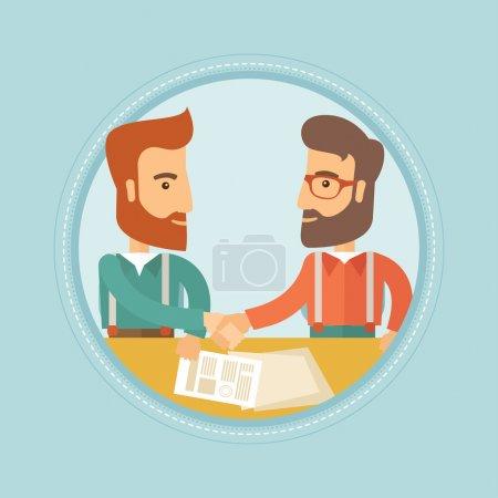 Illustration pour Deux jeunes hommes d'affaires branchés signent un contrat et se serrent la main pour le succès de l'affaire. Concept de partenariat d'affaires. Illustration vectorielle du dessin plat dans le cercle isolé sur fond . - image libre de droit