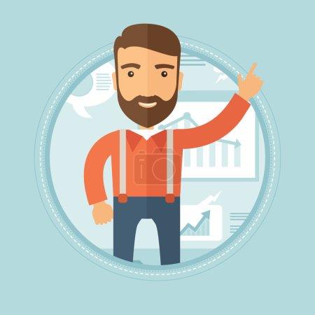 Illustration pour Joyeux homme d'affaires caucasien hipster avec la barbe pointant son index vers le haut lors de la présentation des affaires. Un homme qui fait une présentation d'affaires. Illustration vectorielle du dessin plat dans le cercle . - image libre de droit