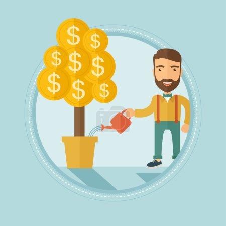 Man watering money tree vector illustration.