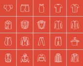 Clothes for men sketch icon set.