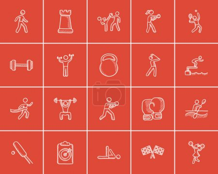 Sport sketch icon set.