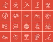 Mining industry sketch icon set