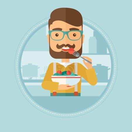 Illustration pour Un homme qui mange de la salade de légumes. Un jeune homme mange de la salade de légumes frais à la maison. Un homme tenant un bol plein de salade dans la cuisine. Illustration vectorielle du dessin plat dans le cercle isolé sur fond . - image libre de droit