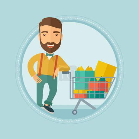 Illustration for Caucasian hipster man with beard leaning on supermarket trolley full of gift boxes. Happy man buying gifts for christmas presents. Vector flat design illustration in the circle isolated on background. - Royalty Free Image