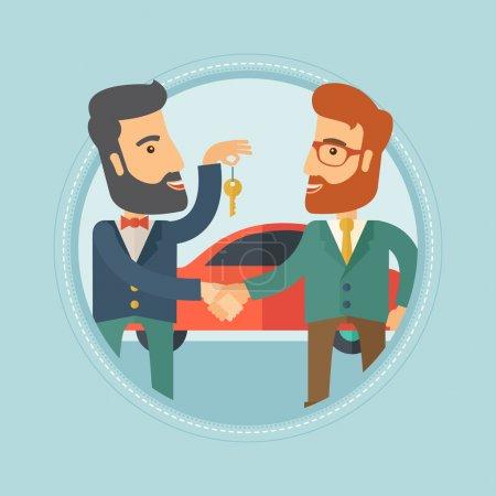 Illustration pour Hipster vendeur de voiture donnant clé de voiture à un nouveau propriétaire sur le fond de magasin de voiture. Homme achetant une voiture et serrant la main à un vendeur. Illustration vectorielle du dessin plat dans le cercle isolé sur fond . - image libre de droit
