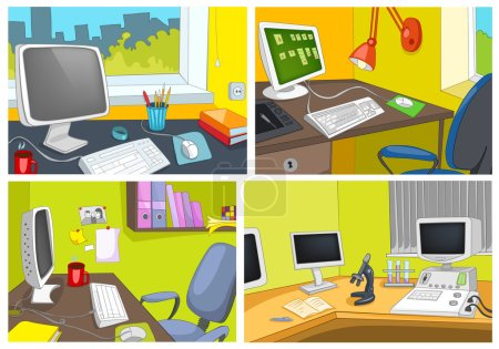 Vector cartoon set of office workplace backgrounds
