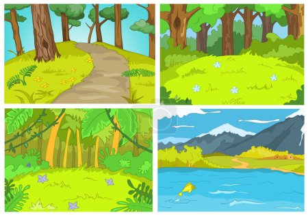 Illustration for Hand drawn vector cartoon set of summer landscapes. Colourful cartoons of summer backgrounds. Background of summer forest with footpath. Background of mountain lake. - Royalty Free Image