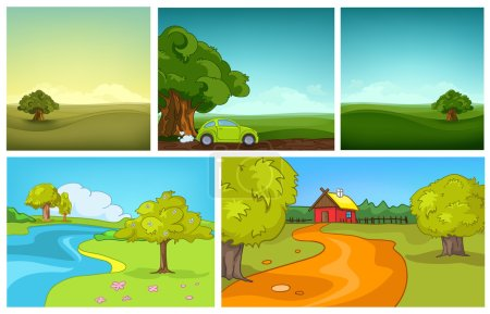 Illustration for Hand drawn vector cartoon set of summer landscapes. Colourful cartoons of summer backgrounds. Cartoon background of field. Cartoon background of countryside with house. Cartoon background of meadow. - Royalty Free Image