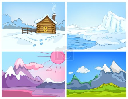 Illustration for Hand drawn vector cartoon set of winter landscapes. Colourful cartoons of winter backgrounds. Vector cartoon set of landscapes of countryside. Cartoon background of glacier and snowy mountains. - Royalty Free Image