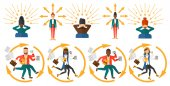 Vector set of illustrations with business people