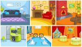 Cartoon set of apartment and restaurant background