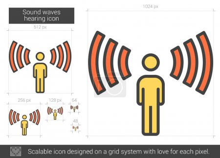 Sound waves hearing line icon.