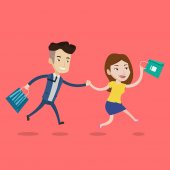 People rushing to shopping Cheerful woman and man running in hurry to the store on sale Young caucasian customers rushing to promotion and discount Vector flat design illustration Square layout