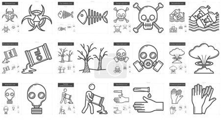 Illustration for Ecology biohazard vector line icon set isolated on white background. Ecology biohazard line icon set for infographic, website or app. Scalable icon designed on a grid system. - Royalty Free Image