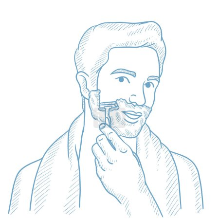 Man shaving his face vector sketch illustration.