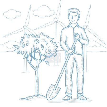 Man plants tree vector sketch illustration.
