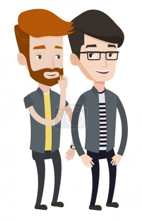 Illustration for Hipster caucasian man shielding his mouth and whispering a gossip to his friend. Two happy men sharing gossips. Friends discussing gossips. Vector flat design illustration isolated on white background - Royalty Free Image