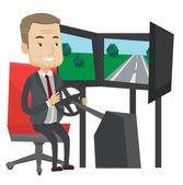 Ember játszik videó játék gaming kerék