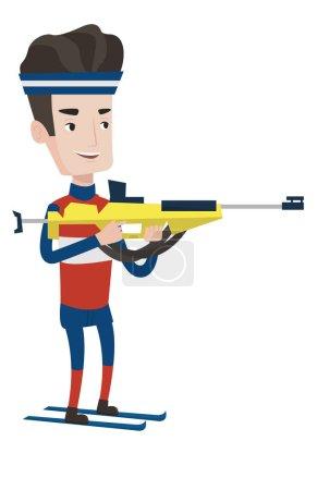 Cheerful biathlon runner aiming at the target.