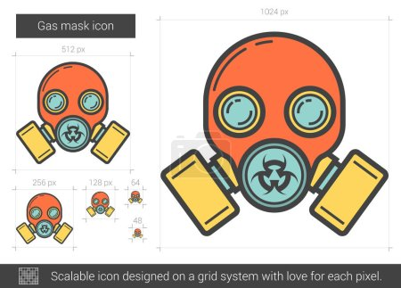 Illustration for Gas mask vector line icon isolated on white background. Gas mask line icon for infographic, website or app. Scalable icon designed on a grid system. - Royalty Free Image